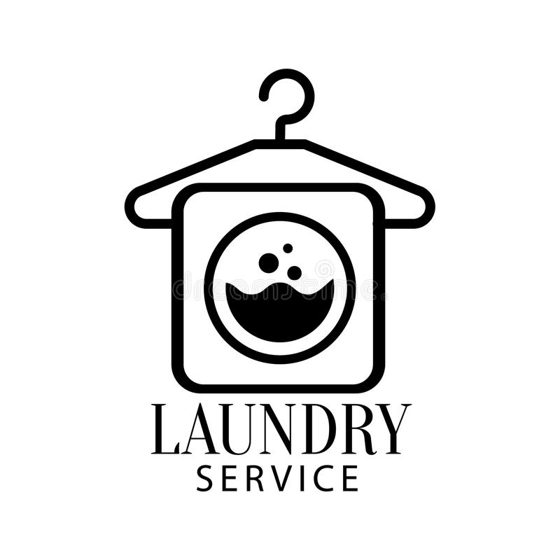 Black And White Sign For The Laundry And Dry Cleaning Service With Hanger And Washing Machine Symbol stock illustration