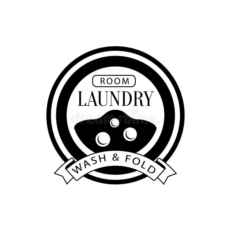 Black And White Sign For The Laundry And Dry Cleaning Service With Washing Machine Viewing Window. Vector Clothes Washing Service Template Logo With vector illustration