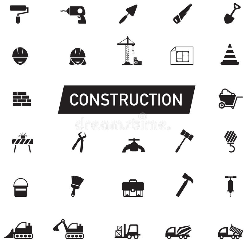 Silhouette Civil engineering, maintenance labor, excavator transport and construction site industry graphic tool equipment sign stock illustration