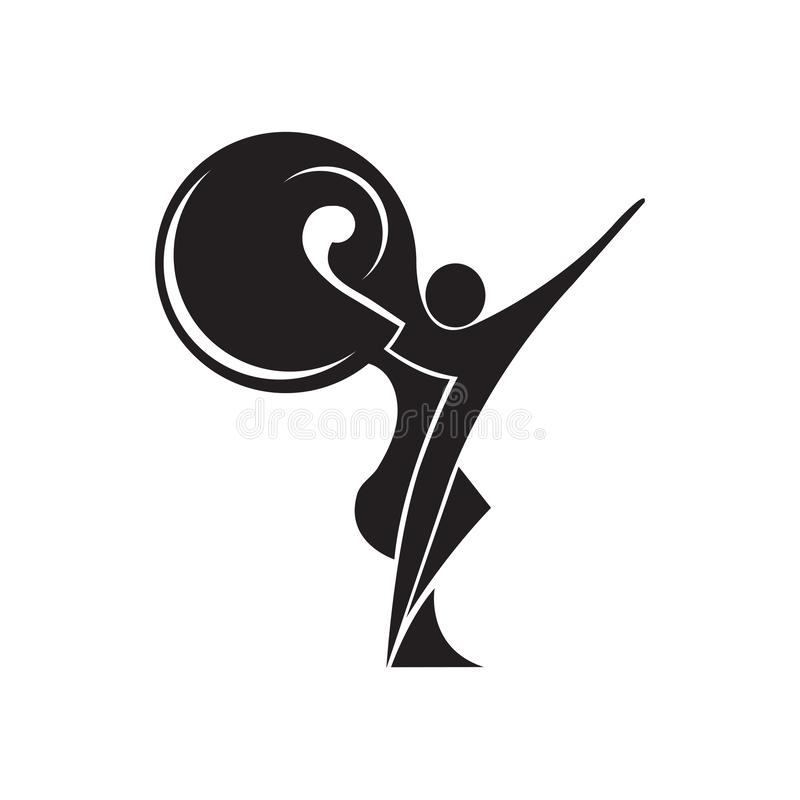 Black and white silhouette of a dancing couple in . Monochrome logo for dance Studio. Latin, ballroom dancing. Label, sign,. Sticker. Man and woman dancing royalty free illustration