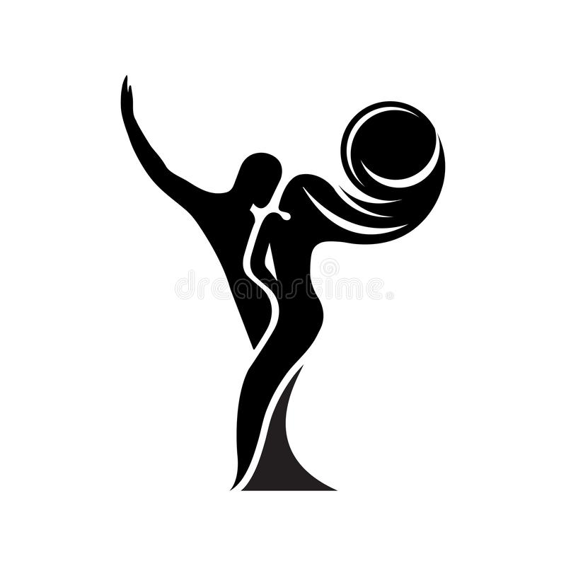 Black and white silhouette of a dancing couple in . Monochrome logo for dance Studio. Latin, ballroom dancing. Label, sign,. Sticker. Man and woman dancing vector illustration