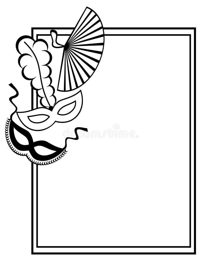 Download Black And White Silhouette Frame With Carnival Masks. Raster Clip  Art. Stock Illustration
