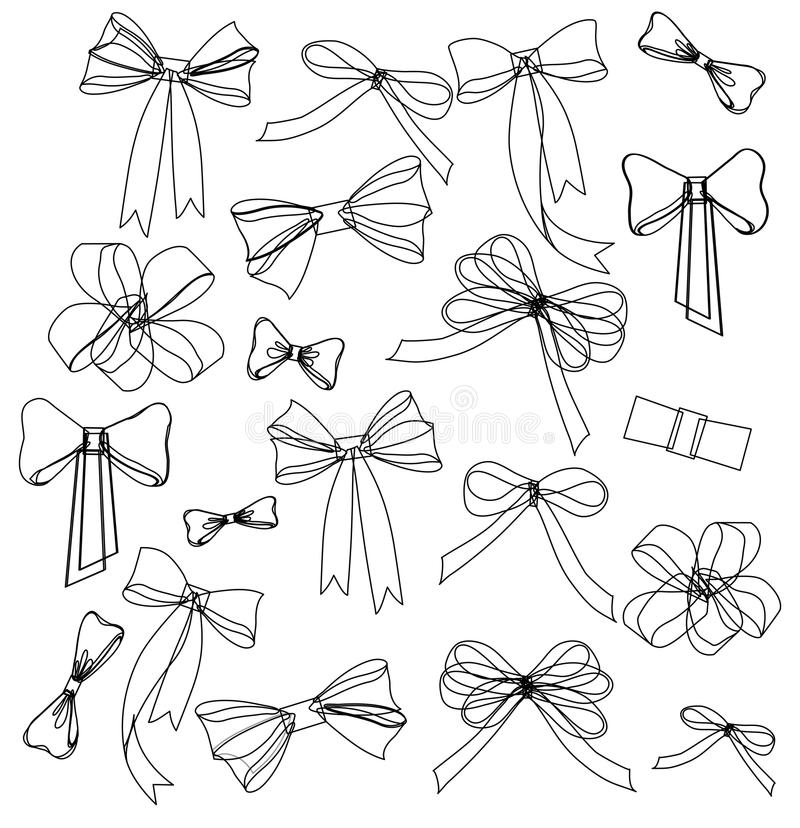 Black and white silhouette image of bow set stock illustration