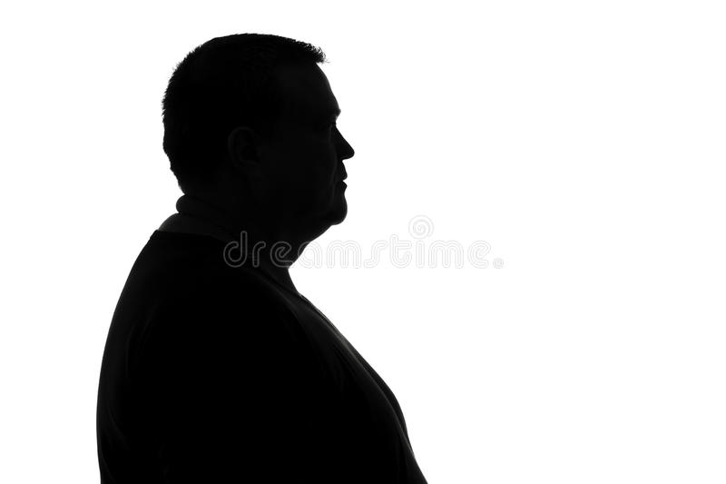 Black and white silhouette man in depression royalty free stock photography
