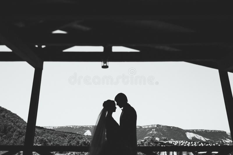 Black and white Silhouette of newlyweds on ceremony with mountain view. Black and white Silhouette of newlyweds couple on ceremony with mountain view stock images