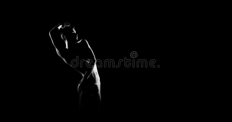 Black and white silhouette of male ballet dancer. Long monochrom horizontal image. royalty free stock photography