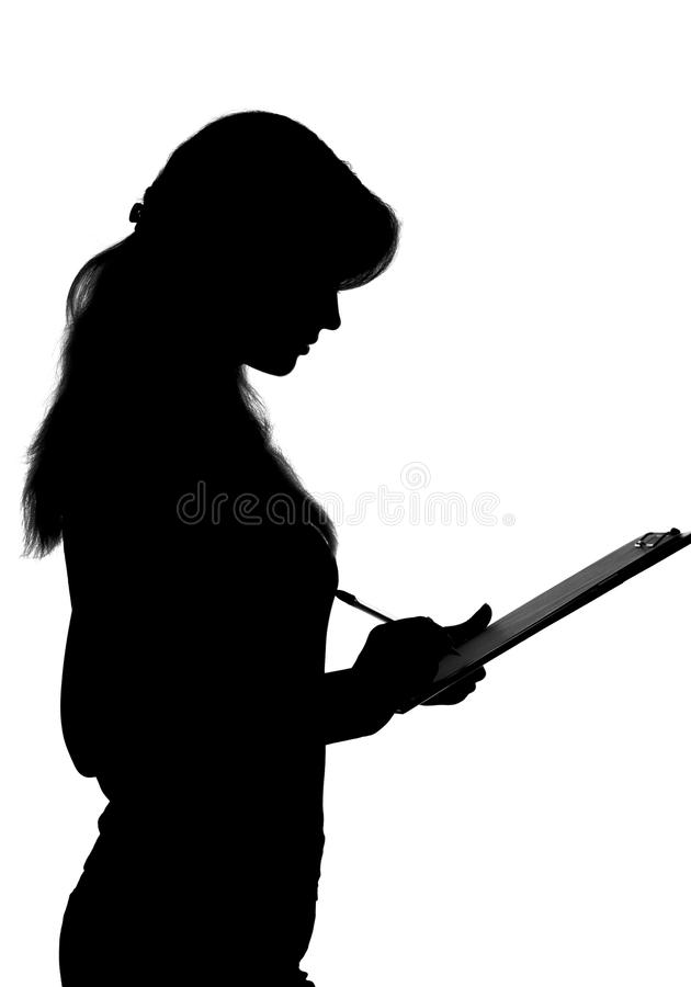 Black and white silhouette of a woman working in an office with a folder for sheets and a pen in the hands royalty free stock images