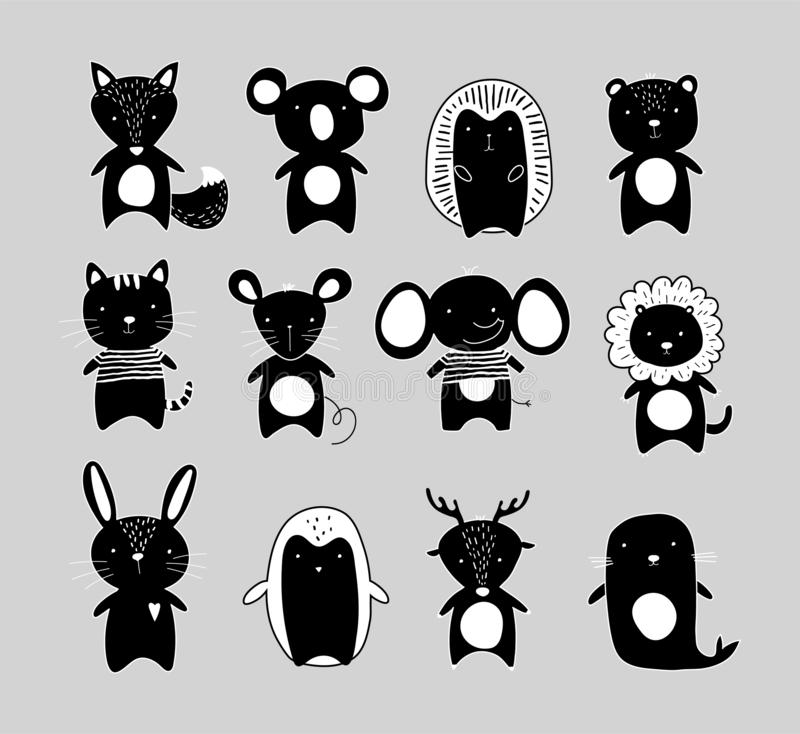 Black and white silhouettes of cute animals. Kawaii cat, rabbit, lion, elephant, bear, koala, deer, hedgehog. Hand drawn pet royalty free illustration