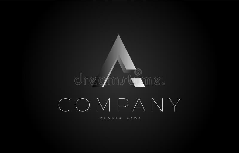A black white silver letter logo design icon alphabet 3d. A letter alphabet black white grey silver logo vector creative company icon design 3d template modern vector illustration
