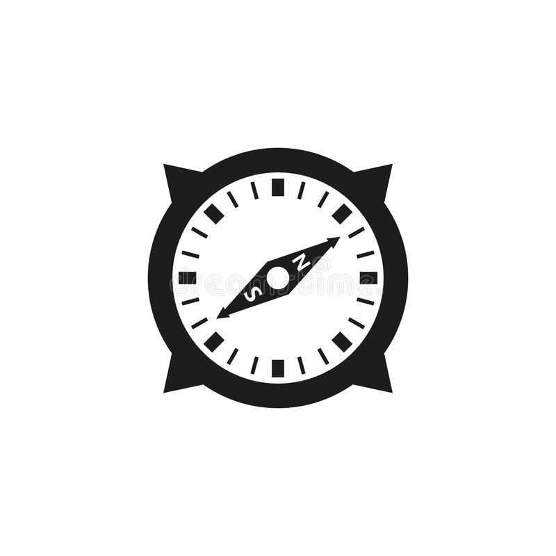 Black and white simple outline vector compass icon stock illustration