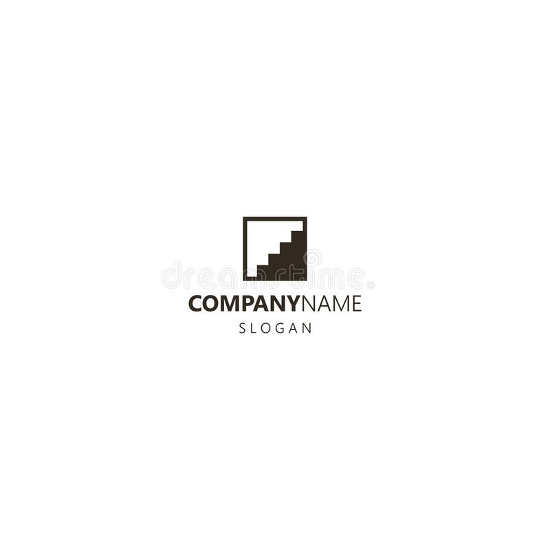 Simple flat art vector iconic logo of step construction in a square frame. Black and white simple flat art vector iconic logo of step construction in a square royalty free illustration