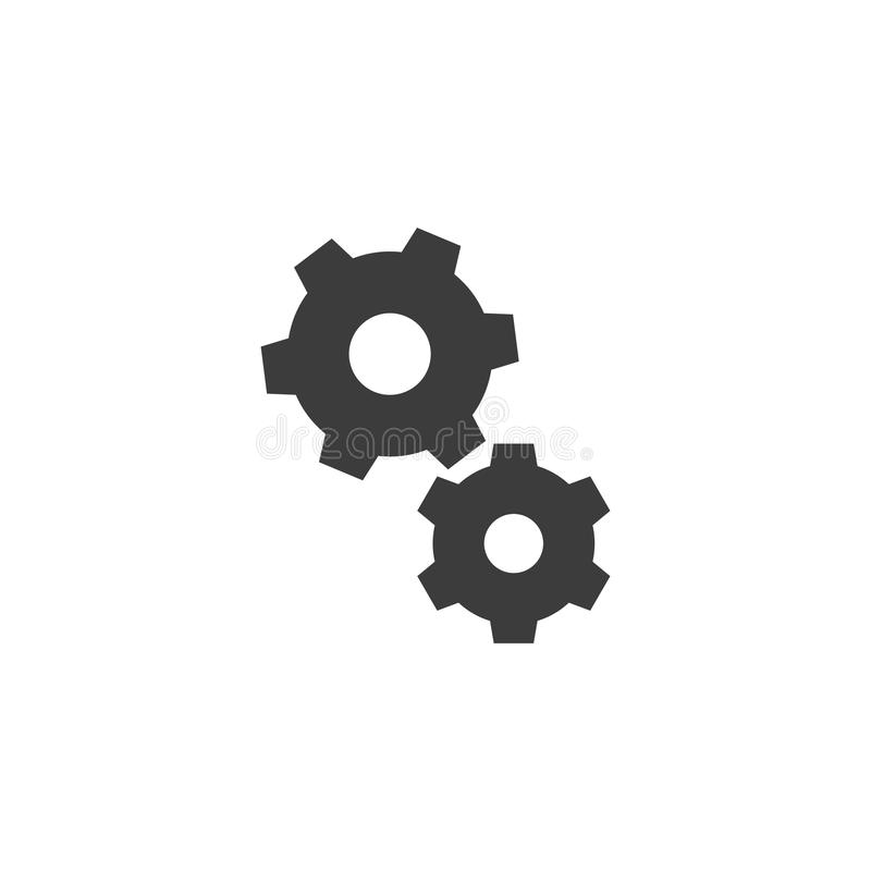 Black and white simple vector outline gears icon vector illustration