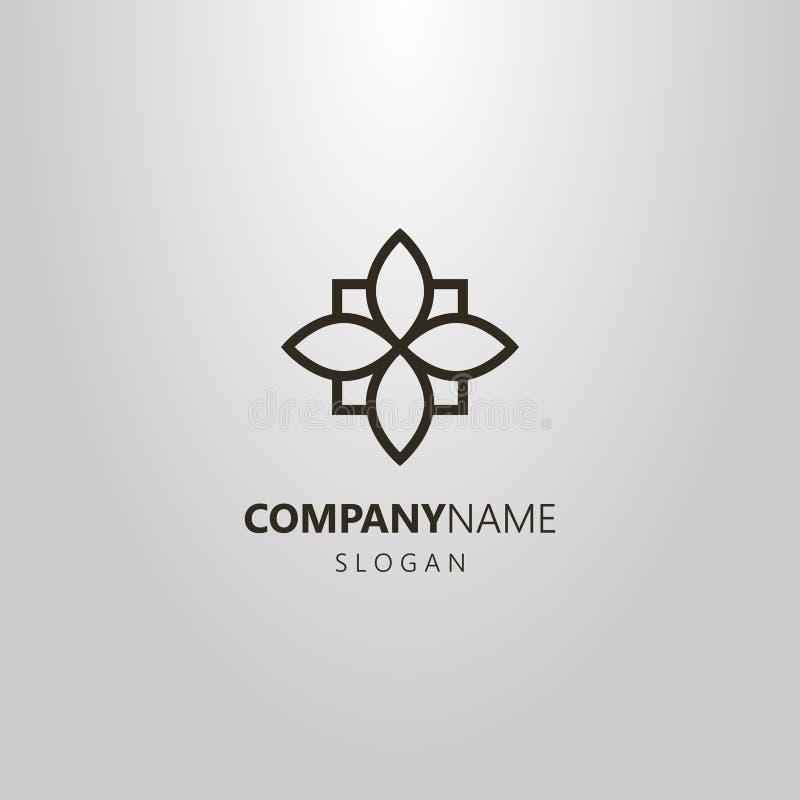 Simple geometric vector line art four-leaved flower logo stock illustration