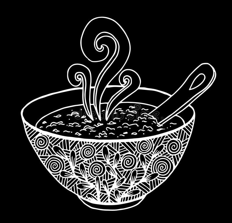 Black and white simple hand drawn doodle of a bowl of soup vector illustration