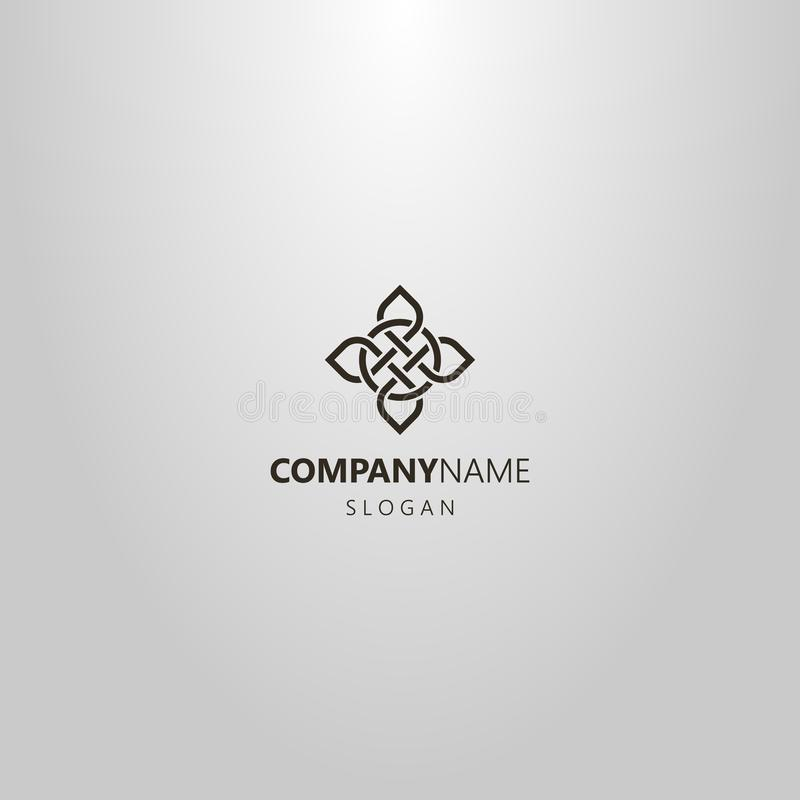 Simple line art vector logo of cruciform element of celtic ornament royalty free illustration