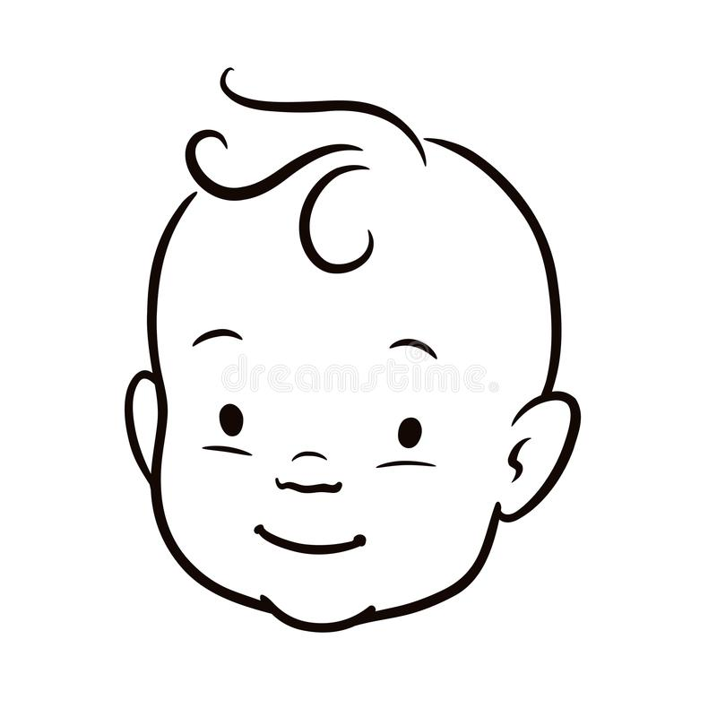 Line Drawing Of Child S Face : Black and white simple line vector cartoon illustration of