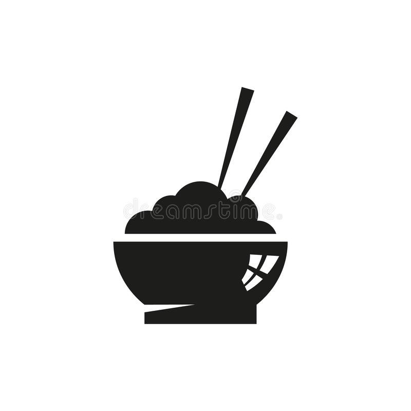 Simple Outline Vector Icon Of Asian Cuisine Dish Of Rice Stock