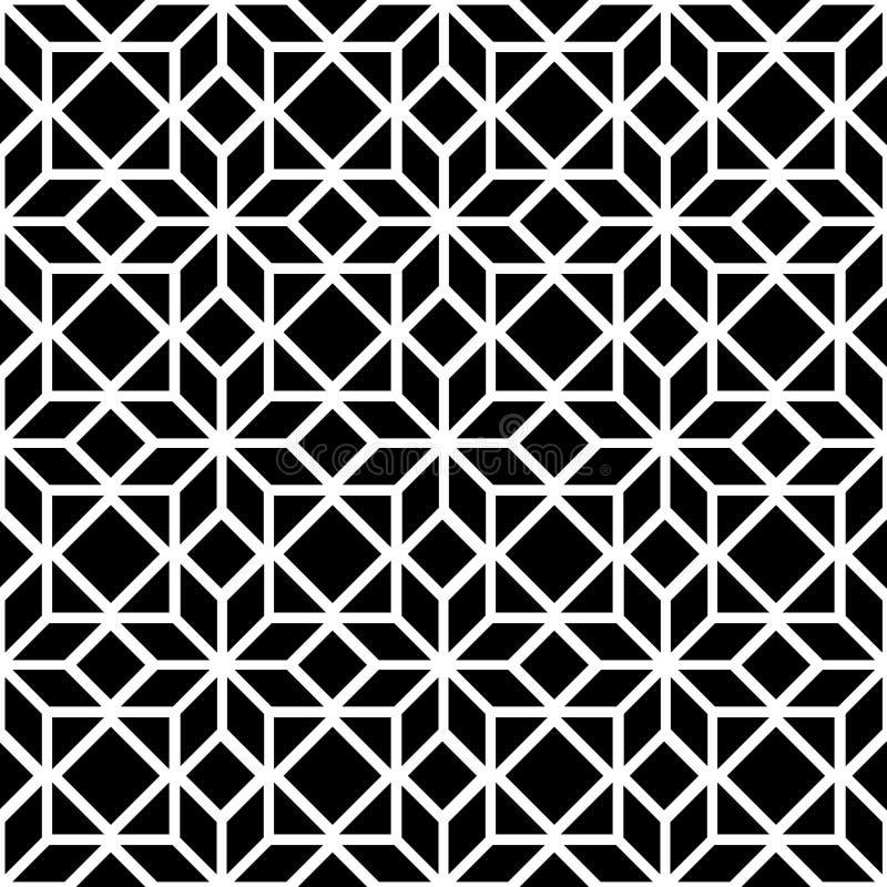 Black and white simple star shape geometric seamless pattern, vector stock illustration