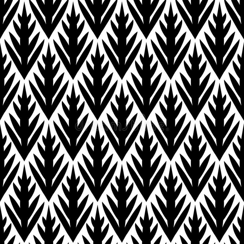 Black and white simple trees geometric ikat seamless pattern, vector. Background stock illustration