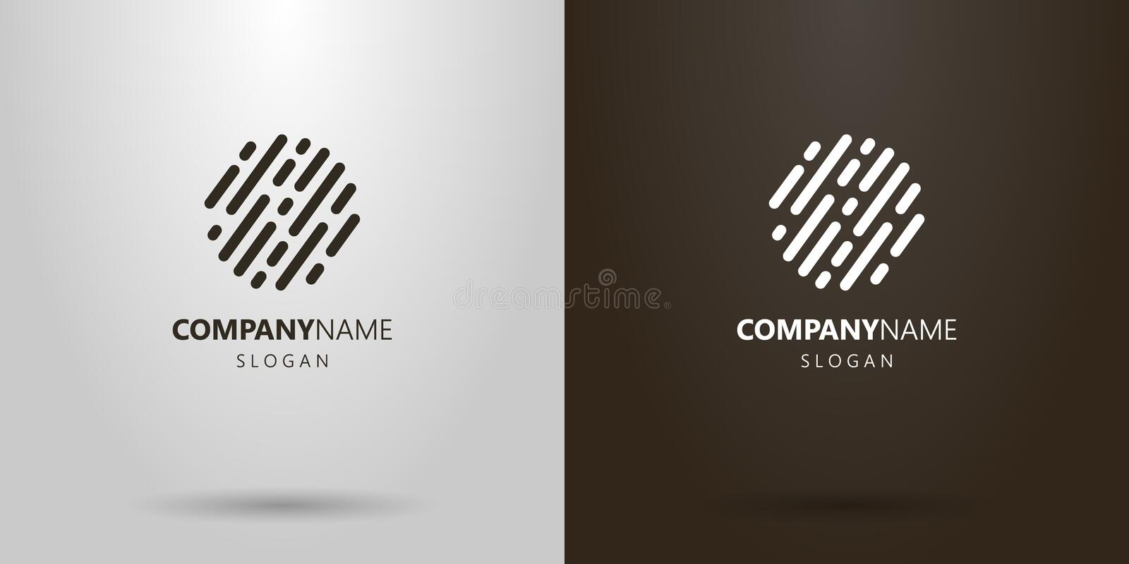 Simple vector abstract rounded lines logo. Black and white simple vector flat abstract rounded lines logo vector illustration