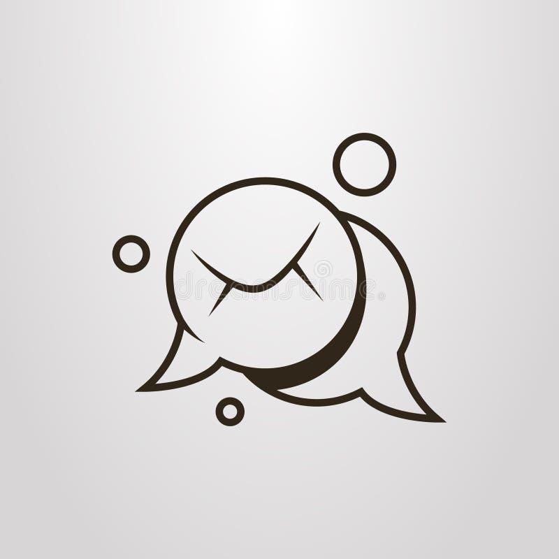 Simple vector flat art cartoon symbol of mailing. Black and white simple vector flat art cartoon symbol of mailing stock illustration