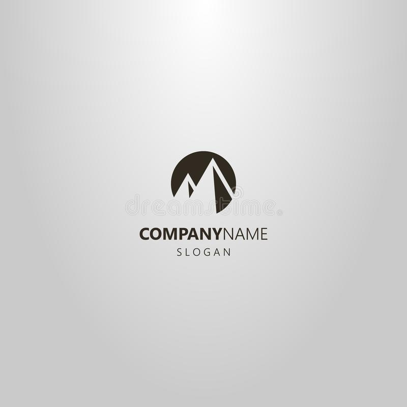 Simple vector flat art negative space round logo of two mountain peaks stock photography