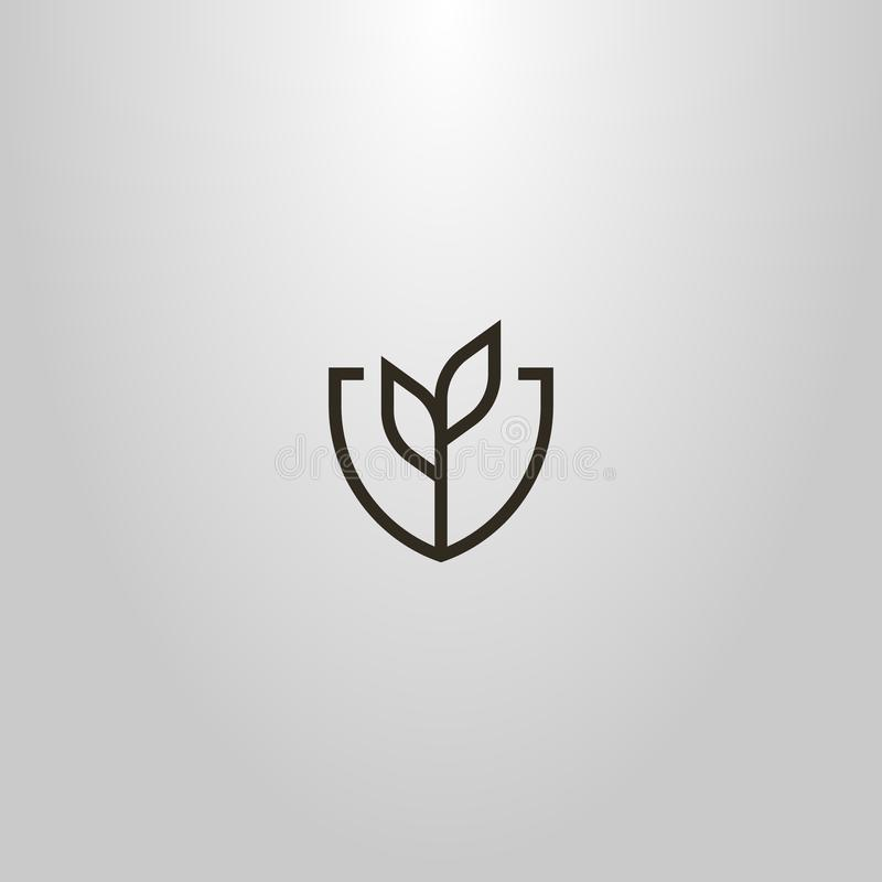 Simple vector line art geometric sign of plant with two leaves in a shield shaped frame. Black and white simple vector line art geometric sign of plant with two royalty free stock images