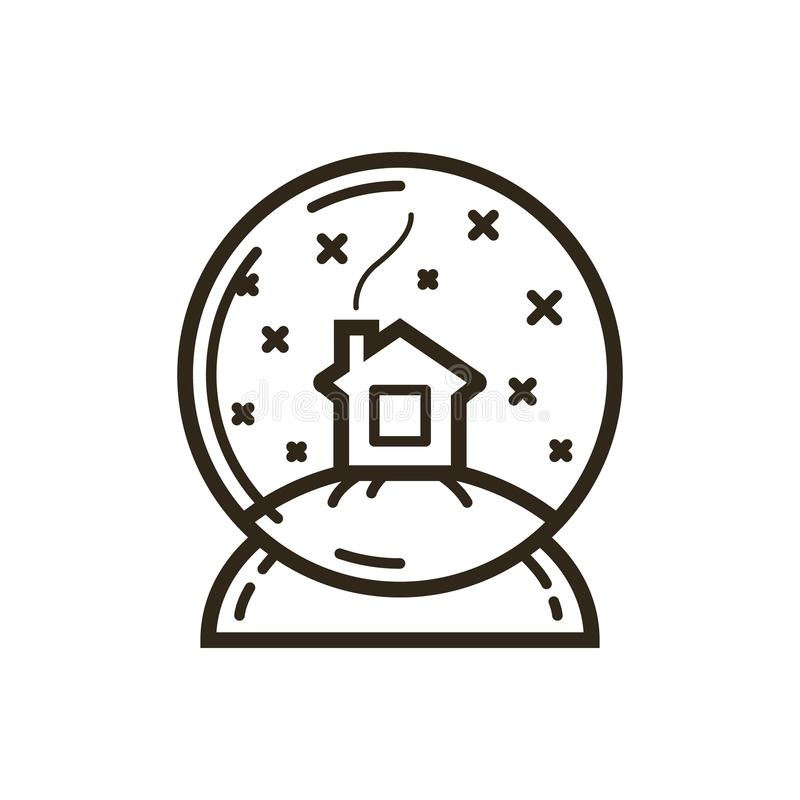 Simple vector line art icon house in snow globes. Black and white simple vector line art icon house in snow globes royalty free illustration