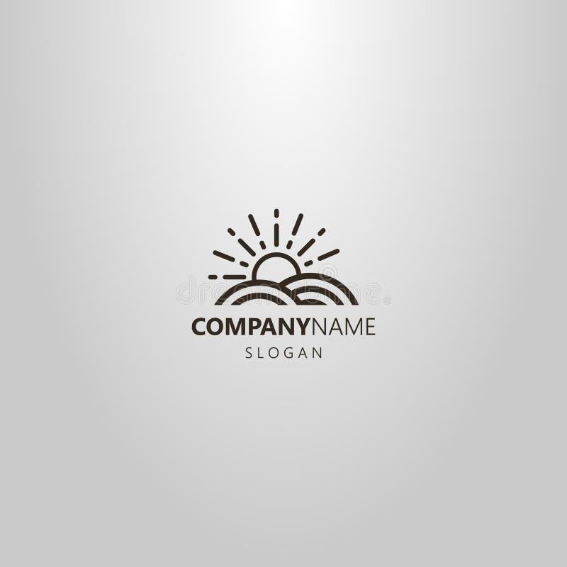 Simple vector line art logo of sun that rise above the land plot vector illustration