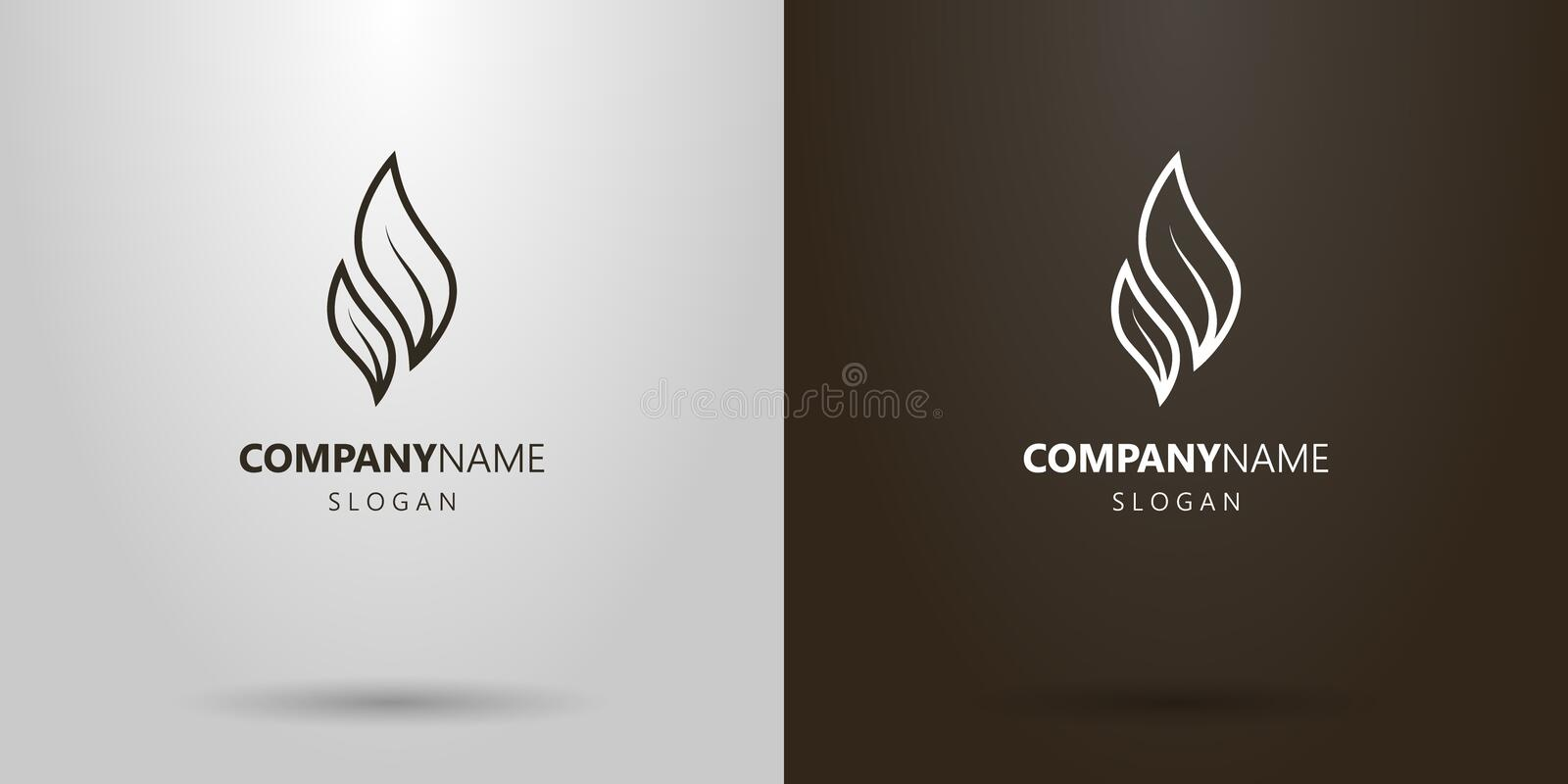 Simple vector line art logo of two tea leaves royalty free illustration