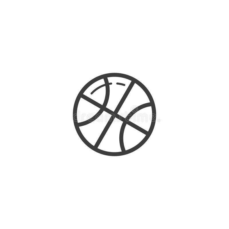 Simple vector line art outline basketball ball icon vector illustration