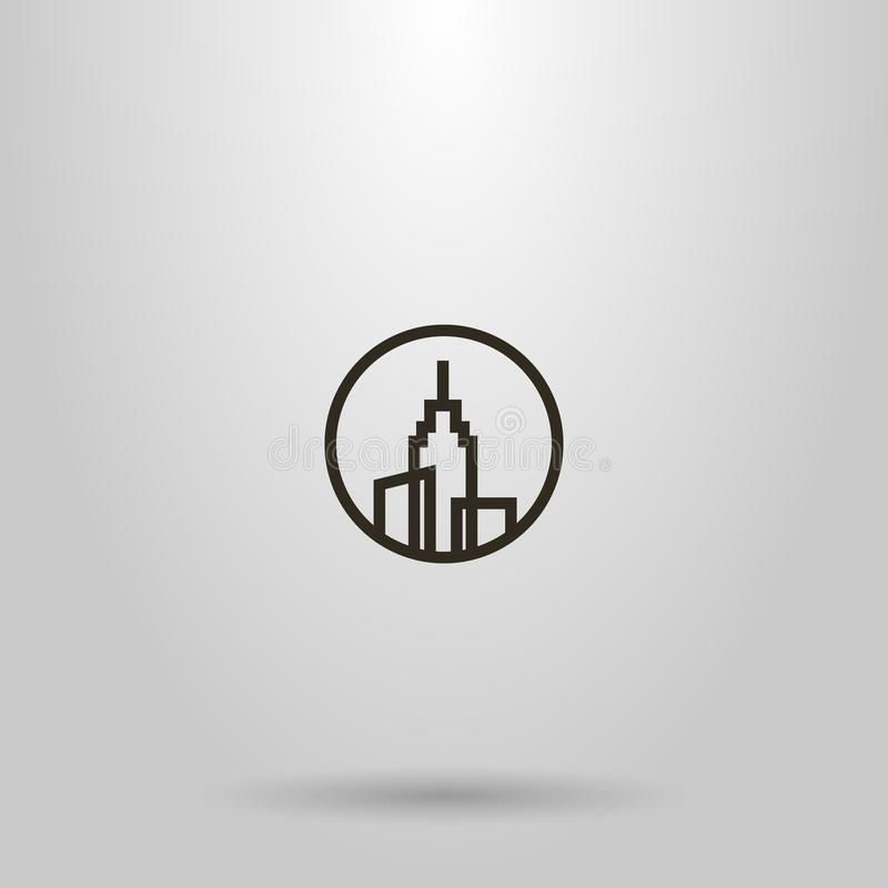 Simple vector line art sign of three high-rise buildings with a spire on the roof in a round frame stock illustration