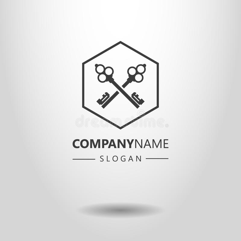 Simple vector logo of two crossed keys in a hexagon frame royalty free illustration