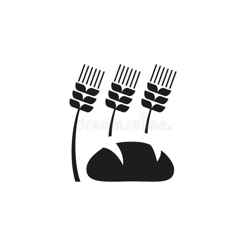 Simple vector outline icon of ears of wheat and bread stock illustration