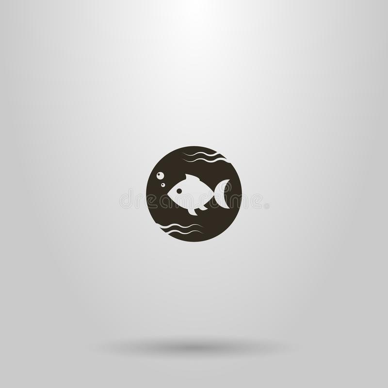 Simple vector round negative space round sign of fish swimming in water. Black and white simple vector round negative space round sign of fish swimming in water vector illustration