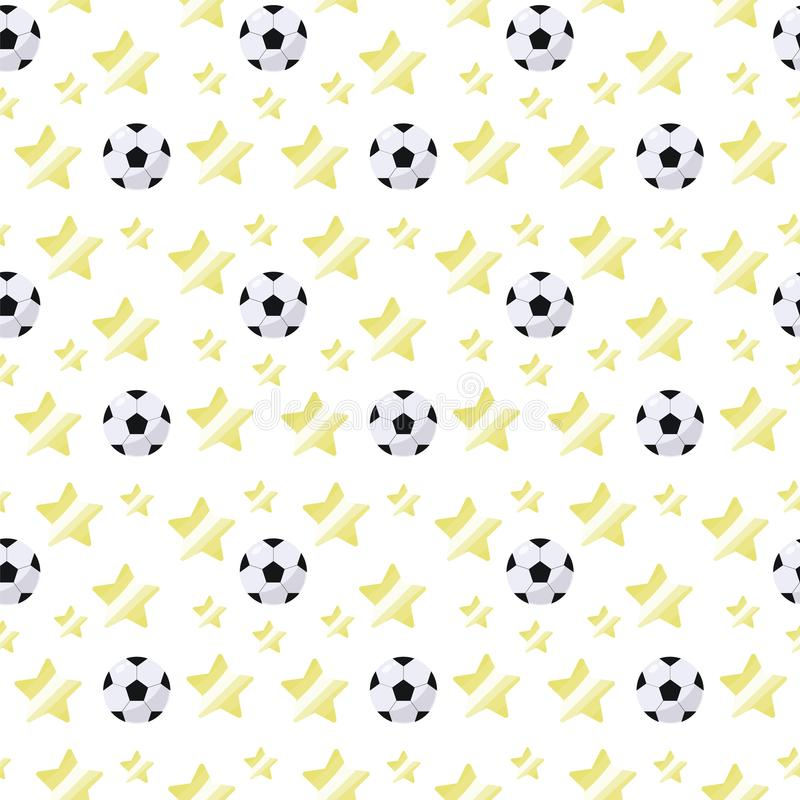 Simple volumetric soccer ball with a glare and yellow stars repeating light seamless sport pattern on a white background stock illustration