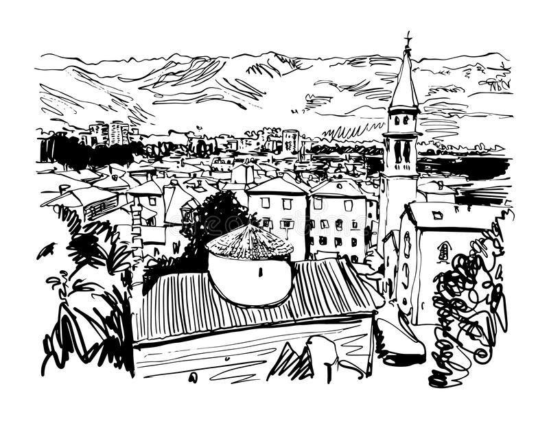 Black and white sketch art panorama of Budva Montenegro. Travel postcard vector illustration vector illustration