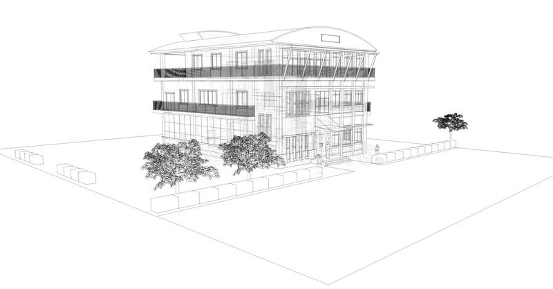 Black and white sketch of building stock illustration
