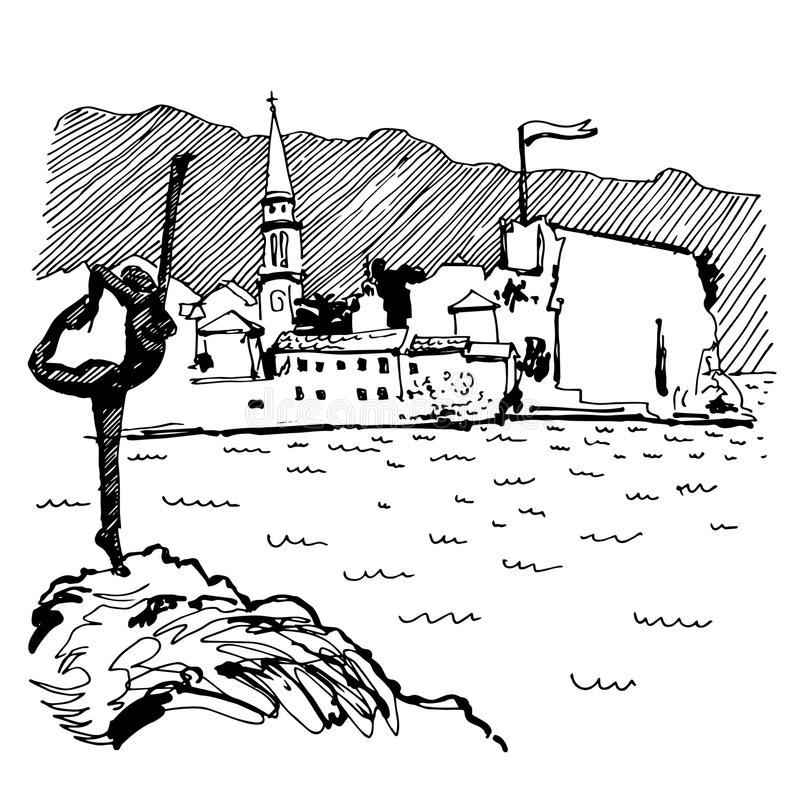 Black and white sketch drawing of Budva Montenegro top view. With famous skulpture and old town tower, vintage touristic postcard, travel vector illustration stock illustration