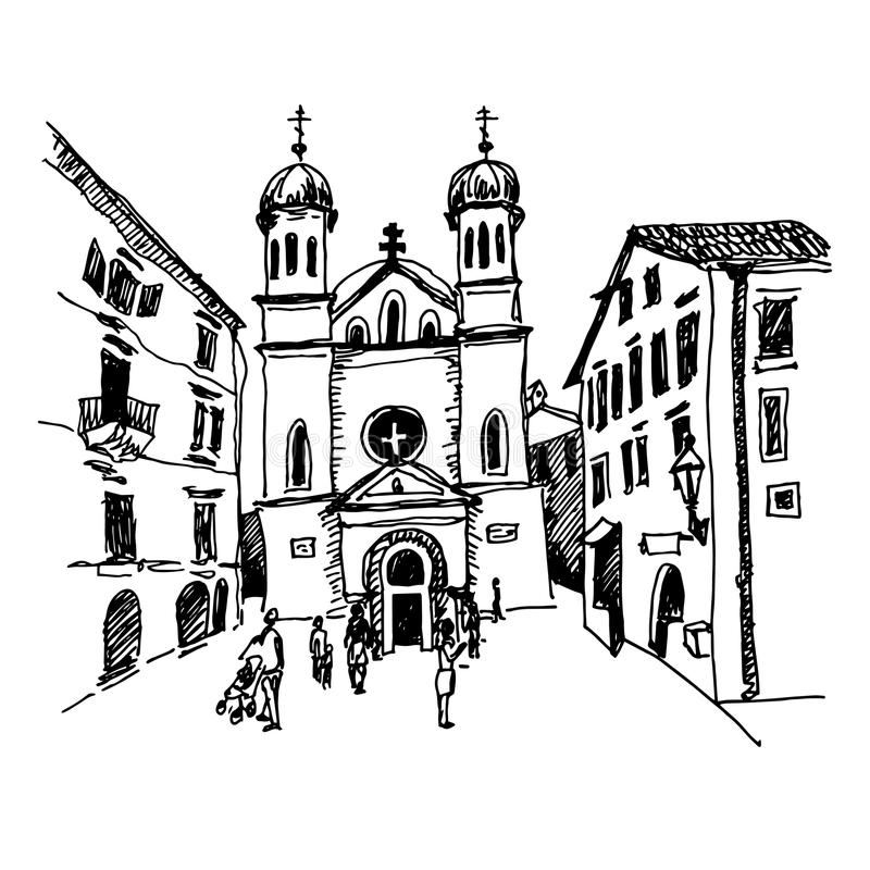 black and white sketch drawing of Church of Saint Tryphon in Kot vector illustration