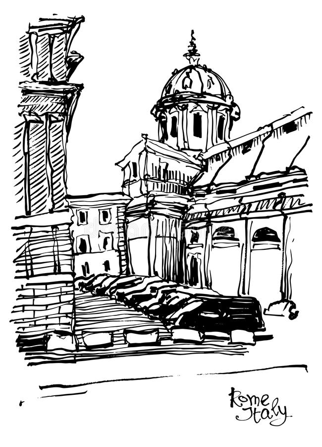 Black and white sketch drawing of Rome cityscape, Italy. Old historical building, vector illustration vector illustration
