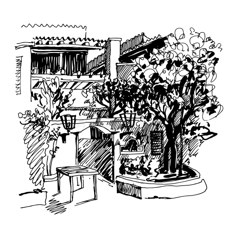 Black and white sketch drawing of Slovenska Plaza hotel street i. Original black and white sketch drawing of Slovenska Plaza hotel street in Budva, Montenegro vector illustration