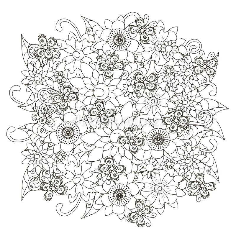 Black and white sketch of flower background, stylized flowers and butterflies for anti stress coloring page. Stock vector illustration royalty free illustration