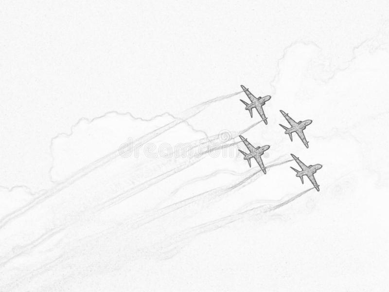 White sketch of formation of aerobatic aircraft. stock photos