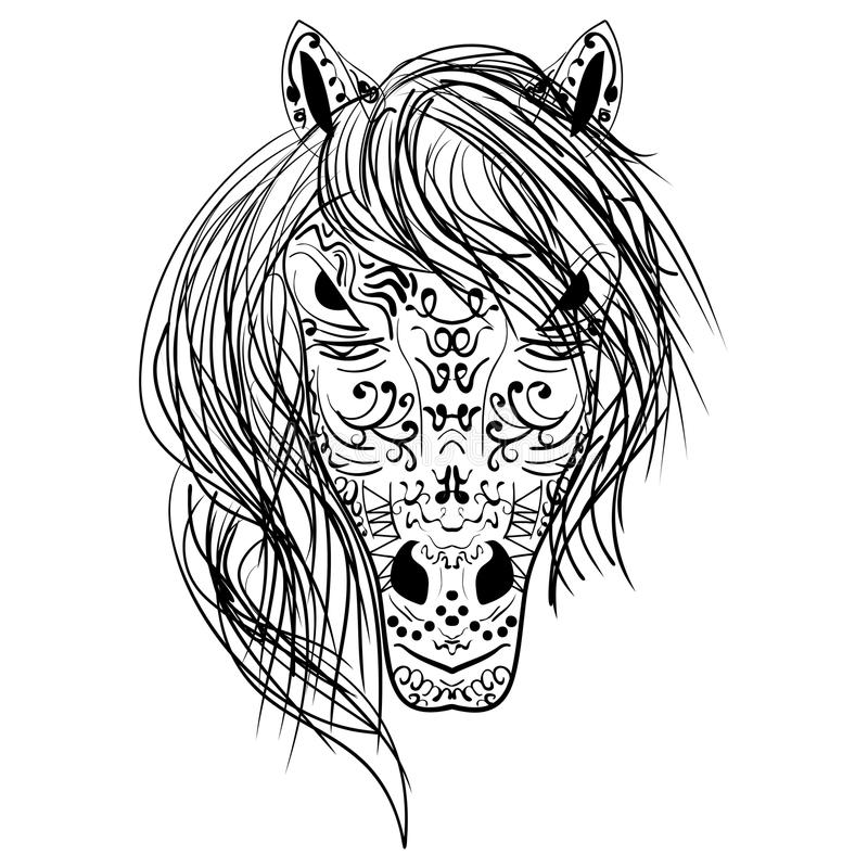 Black and white sketch horse head Zen-tangle. Head horse coloring book for adults vector illustration. Anti-stress coloring for adult. Nag zentangle style. Black vector illustration