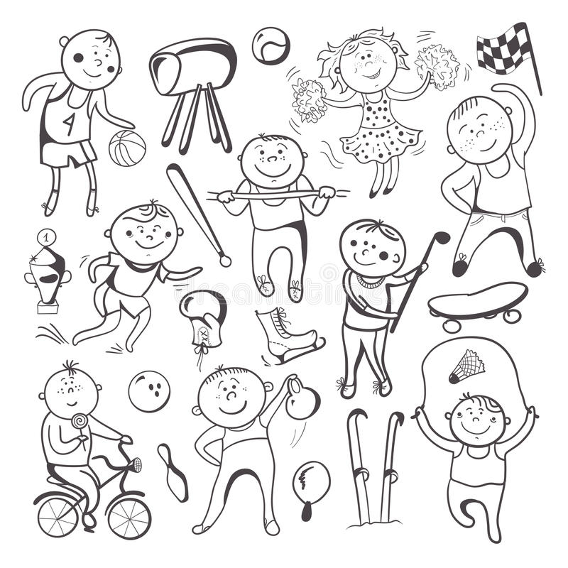 Black White Sketch Sport Players Stock Vector Illustration Of Athletics Character 36098343