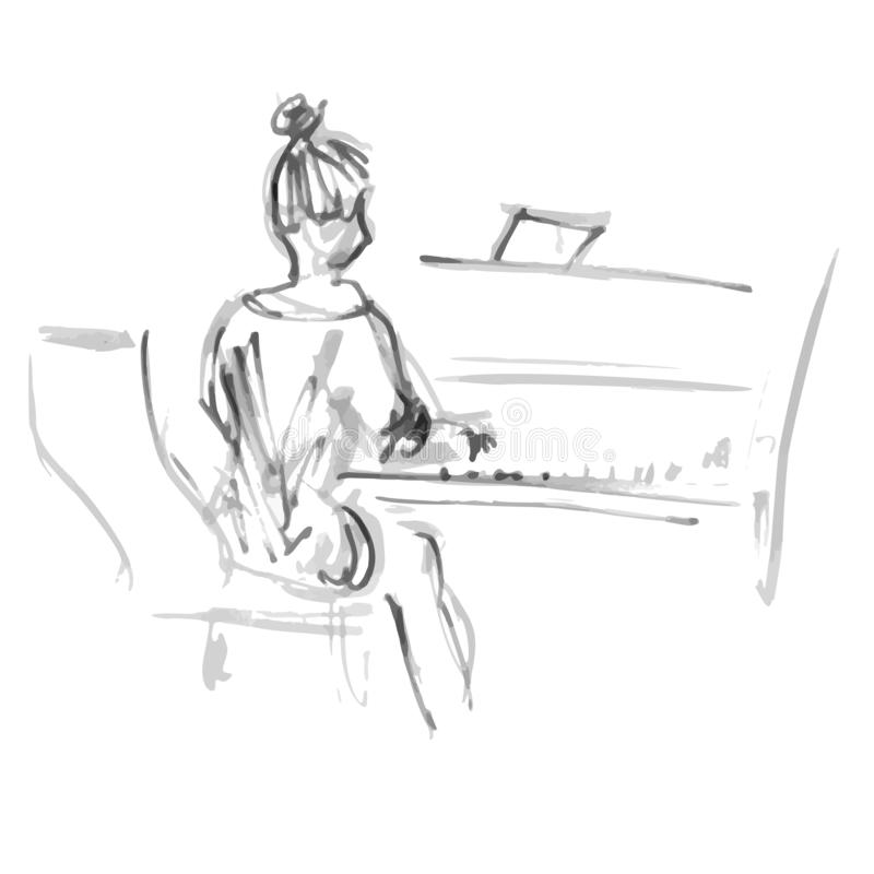 Black-white sketch woman from the back playing piano - quick freehand sketch vector illustration gray liner stock illustration