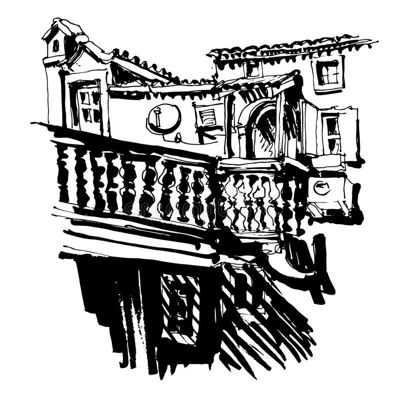 Black and white sketching of old building in Budva Montenegro. Old town travel vector illustration royalty free illustration