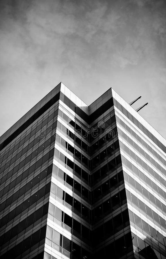 Black and white skyscraper. Canary Wharf, London, UK royalty free stock images