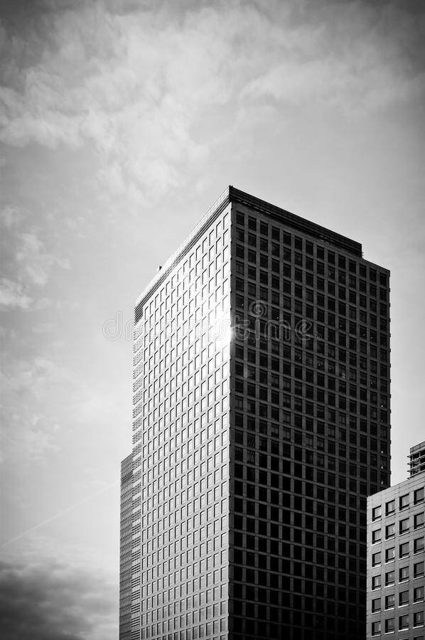 Black and white skyscraper. Canary Wharf, London, UK royalty free stock photos